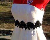 Handmade Couture Ivory Silk & Black Floral Alencon Lace Bridal Sash Belt