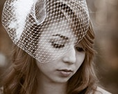 Birdcage Veil Flower set, Bridal Headpiece 12 inch Veil French Net birdcage veil, ivory birdcage veil with choice of flower comb accessory