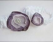 Purple Garter Flower Garter Set Pink, Lavender, Eggplant Purple, Orchid Fabric Flower, Rhinestone garter, Bridal Keepsake and Toss Garters
