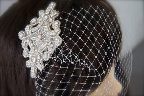 Birdcage Veil Bridal Headpiece, Crystal Rhinestone beaded rhinestone comb, petite wedge blusher veil choose colors French Russian netting