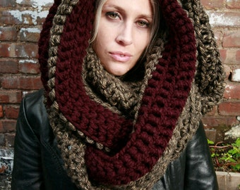 The Tallulah STRIPE Wrap Cowl Scarf in Granite Grey & Eggplant Purple