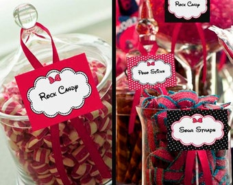 Minnie Mouse Pink Candy Table Buffet Label Party Printable - Stick to Your Story