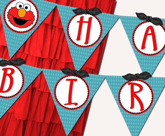 Elmo Sesame Street Banner Party Printable - Stick to Your Story