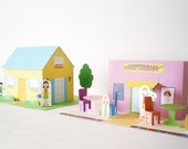 Papertown house and ice cream shop - PDF paper craft