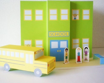 Papertown school and gas station - PDF paper craft