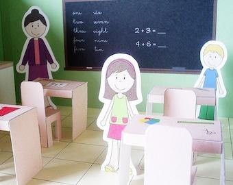 Printable classroom - PDF paper craft