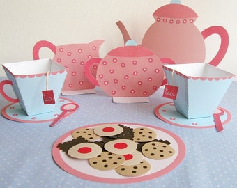 Printable tea set - PDF paper craft