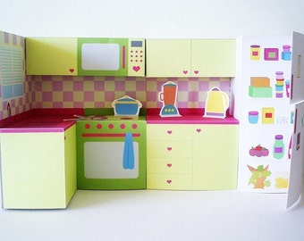 Printable kitchen set - PDF paper craft