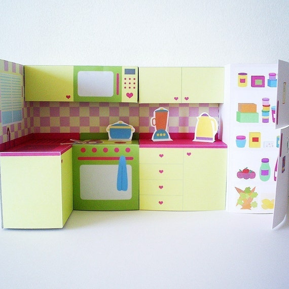 Printable kitchen set pdf paper craft for Kitchen setting pictures