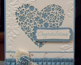 "Handmade Anniversary or Wedding Congratulations Card - 5 1/2"" x 4 1/4"" - Stampin Up Love & Laughter - Ornate Heart"