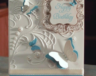 "Handmade Birthday Card 5.5"" X 4.25"" - Stampin Up Elementary Elegance - Heavily Embossed Swirls with Pearls & Butterflies"