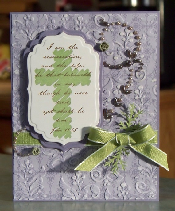Handmade Easter Card with Scripture and Cross, Stampin Up Renewed Faith