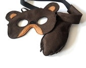 Bear Mask and Tail for Kids, Children Mardi Gras Costume, Eco Friendly Dress up and Pretend Play Toy for Girls Boys and Toddlers