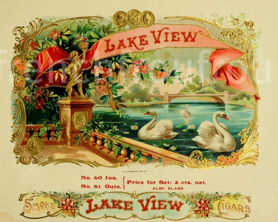 Box Label: Victorian White Swan Lake Cigar Box Label Illustration Digital