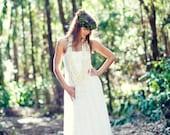 Bohemian Beach Lace Wedding Dress with Empire Waist