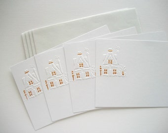 Single Note Cards Old Dutch House Hand Embossed Set of 4 Pieces