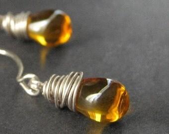 Amber Earrings. Glass Earrings. Dangle Earrings. Wire Wrapped Drop Earrings in Silver - Elixir of Honey Handmade Earrings.