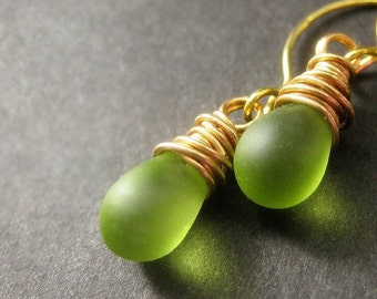 Green Earrings: Teardrop Earrings Wire Wrapped in Gold. Frosted Granny Apple Green. Handmade Earrings.