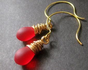 Red Earrings: Teardrop Earrings Wire Wrapped in Gold - Elixir of Roses. Handmade Earrings.