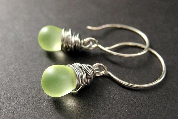Wire Wrapped Earrings: Teardrop Earrings in Lemon Lime Frosted Glass. STERLING Silver. Handmade Earrings.