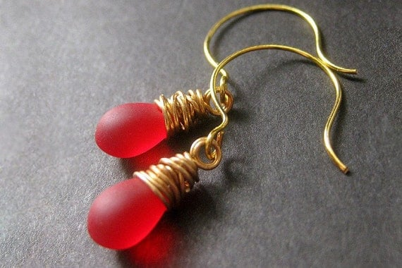 Red Earrings: Teardrop Earrings Wire Wrapped in Gold - Elixir of Roses. Handmade Earrings.