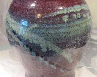Stoneware Vase - Large, Earthy Tribal Glaze - Purple