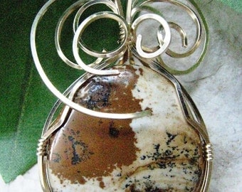 Picture Jasper Gold Wire Wrapped Pendant