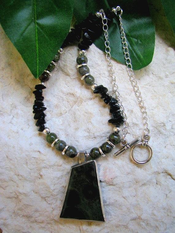 Kambaba Jasper & Obsidian Silver Necklace - Kambaba Jasper - Jasper Necklace