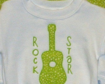 Guitar Rock Star Machine Embroidery Applique