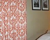 FREE U.S. SHIPPING - Two 50x84 inch Designer Rod Pocket Drapery Panels. Damask Sweet Potato and Natural - Lined w/ Blackout.