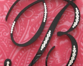 Black Monogram Cake Topper with Crystals for Wedding