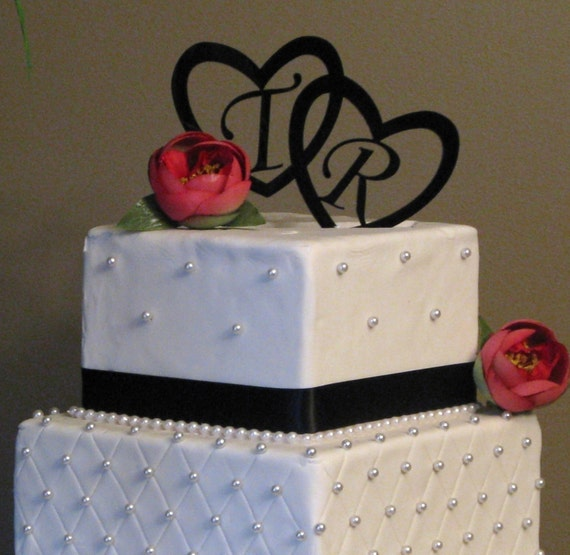initial hearts cake topper for wedding cake by milancreations