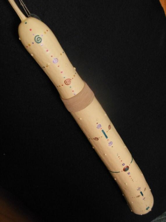 SALE*Rainstick - Spiral with Dots - OOAK Gourd Art