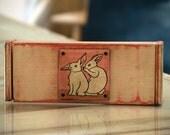 "Wooden Keepsake Pencil Box in  Pink under Vintage White Finish Featuring ""Conspiracy Rabbits"" Artwork - Handmade wooden Box - Customizable"