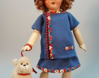 Bleuette pattern for doll clothing - ROBE de JERSEY 1927 LSDS Skirt and Tunic Top