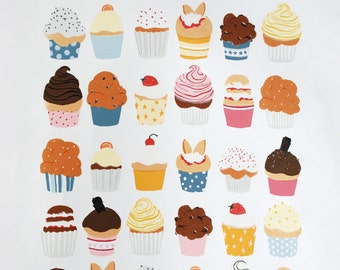 Cupcakes - Hand Pulled ltd ed Screenprint