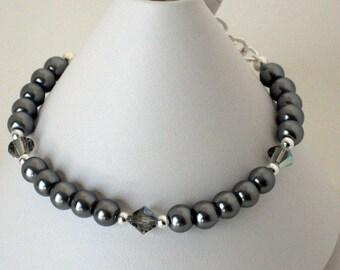 Silver Gray Pearl Bracelet, Wedding Jewelry, Gifts for Women Mom Wife Sister Daughter Grandma Teacher, Stocking Stuffers