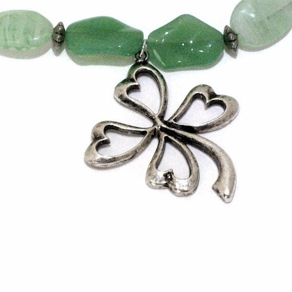 Green Four Leaf Clover Necklace, One of a Kind Jewelry, Gift for Women, Gifts Under 30, Last Minute, Gift Wrapped, St Patrick's Day Jewelry