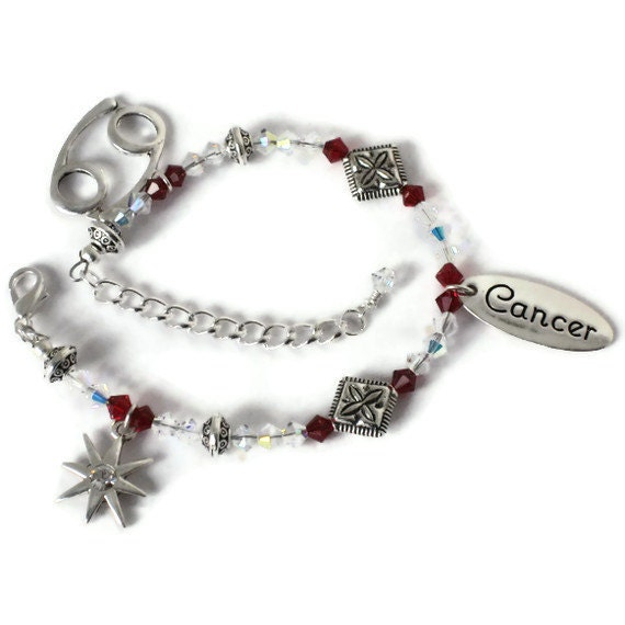 Cancer Zodiac Bracelet, June July Birthday, Swarovski Crystals, Personalized, One of a Kind, Gifts for Women, Gifts Under 30, Christmas