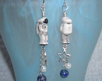 Astronauts in Space Spaceman Jewelry Surgical Steel Earrings Handmade Jewelry USA