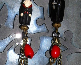 Vampire and Coffin Earrings with Coral Blood Drop Beads