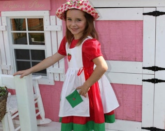 Strawberry Shortcake Costume, Made to Order, Girl sizes. 4 Pieces, Tights and Hat included. sizes larger than 6 are slightly higher.