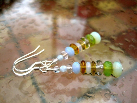 Ocean Light Earrings -- Towers of Luminous Glass & Sparkling Crystals // HALF of the price of THIS pair will be donated to Disaster Relief