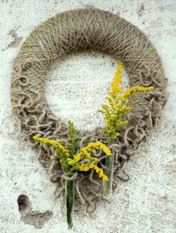 Rustic Wreath - Summer Wreath - Fall Wreath - Front Door Wreath with test-tubes for fresh flowers -Year Round Wreath