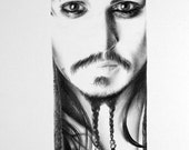 Johnny Depp Jack Sparrow Pirates of the Caribbean Pencil Drawing Fine Art Portrait PRINT Hand Signed