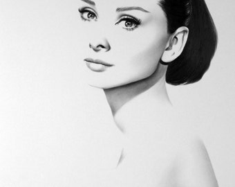 Audrey Hepburn Fine Art Print Pencil Drawing Portrait Hand Signed by the Artist