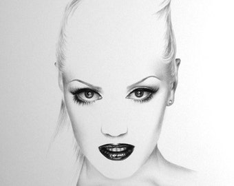 Gwen Stefani No Doubt Minimalism Pencil Drawing Fine Art Portrait  Print Hand Signed