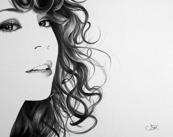 Mariah Carey Pencil Drawing Fine Art Portrait Signed Print