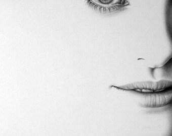 Natalie Portman Minimalism Pencil Drawing Fine Art Portrait Signed Print