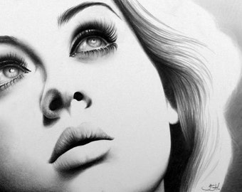 Adele Original Pencil Drawing Fine Art Portrait SALE